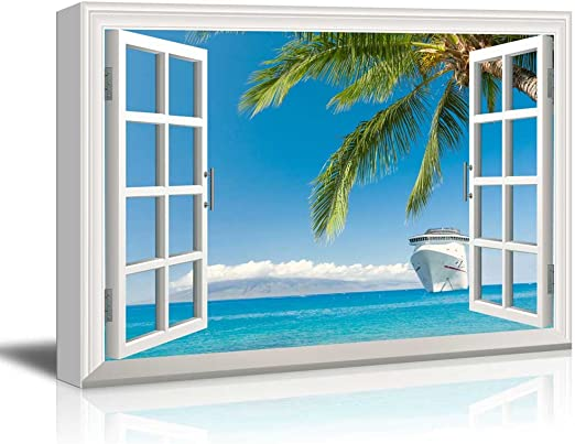 CVS 16x24 inches Wall26 Window Looking at a Beach with a Palm Tree Gallery
