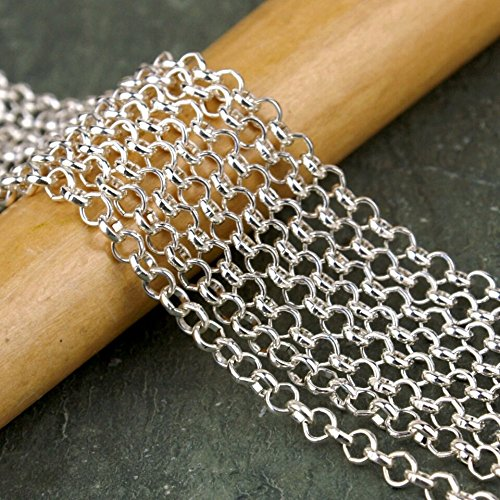Open Link Chain Necklace (10ft Rolo Chain-Nickel Free-Round Small Open Link - Necklace Jewelry Making (Silver 3.5))