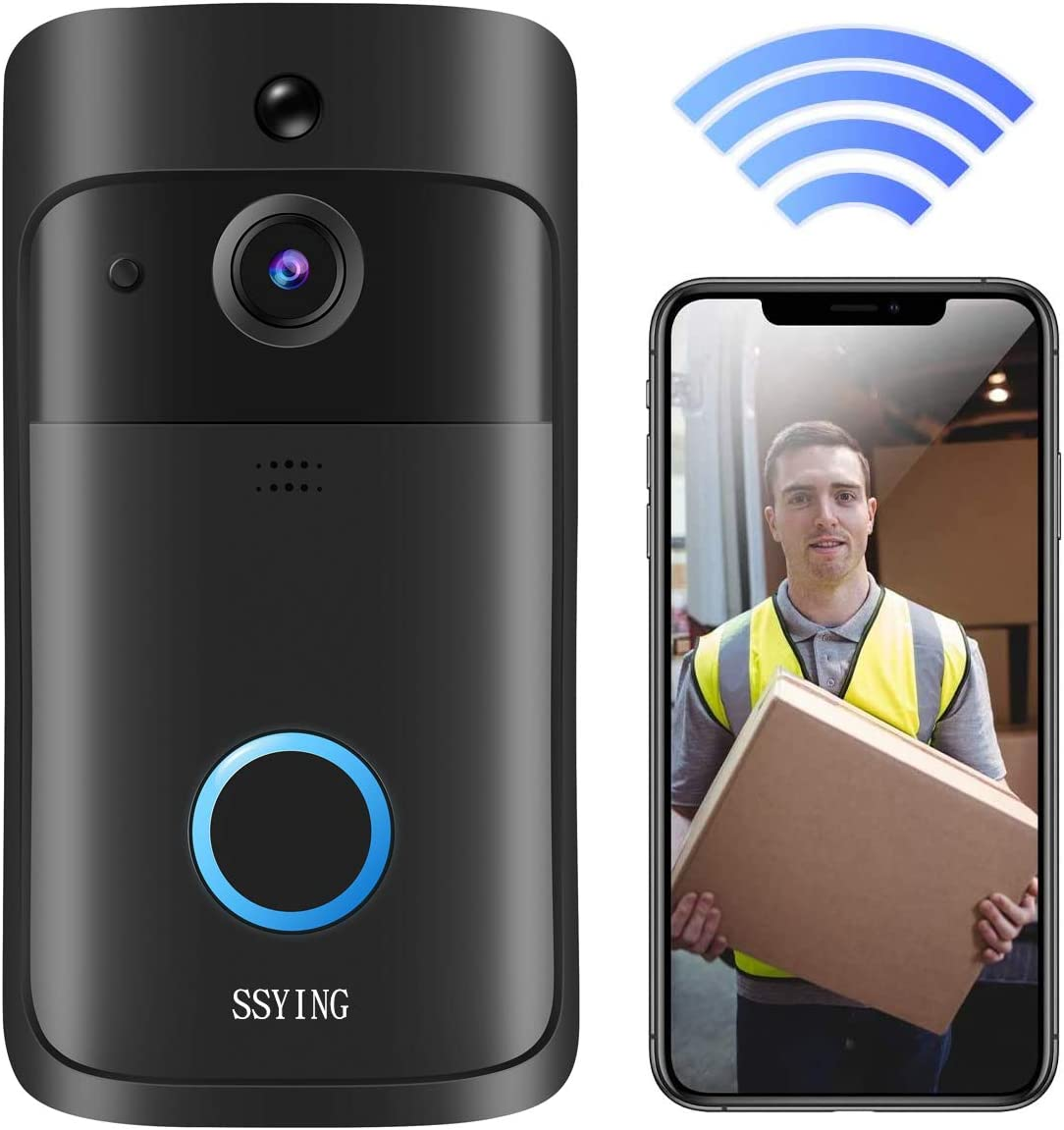 Video Doorbell Doorbell Camera HD WiFi Wireless Battery Power Operated Motion Detector Audio/&Speaker Night Vision for iOS/&Android