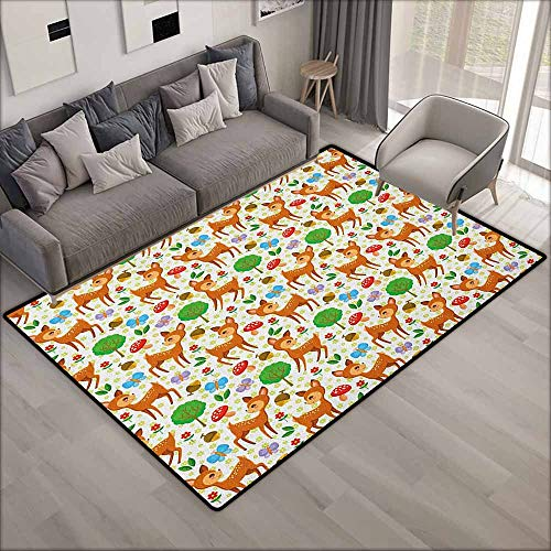 Kids Rug,Cartoon Animal Baby Deer and Other Forest Elements Mushrooms Butterflies Flowers and Nuts,Ideal Gift for Children,4'7