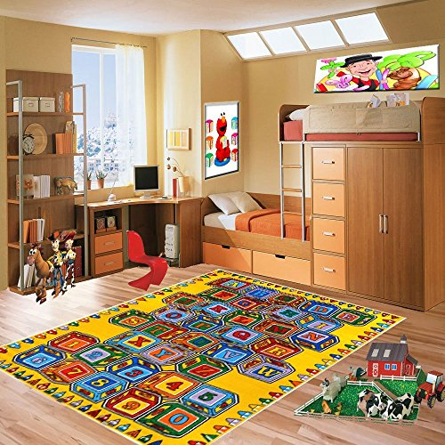 Mybecca ABC Blocks 8' X 11' Kids Learning Rugs Classroom Area Playtime Rug - size approximate ( 7'10'' X 11'3'') by Mybecca (Image #2)
