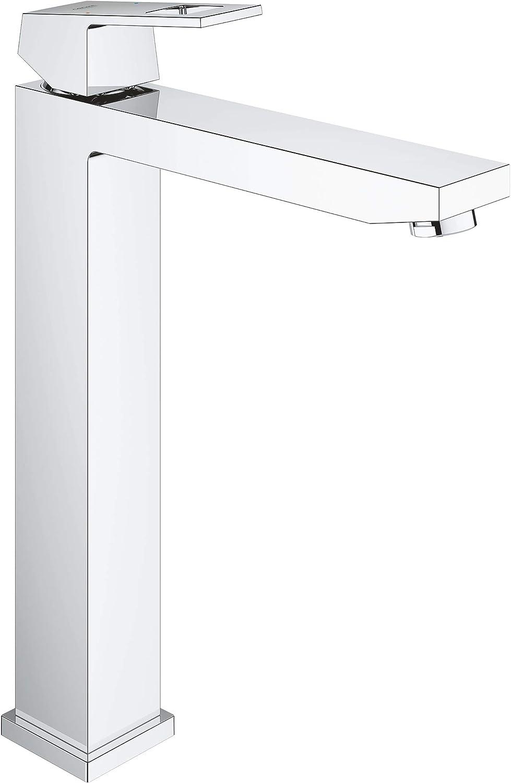 Grohe Eurocube - Grifo de baño para lavabos tipo bol de sobremueble, cuerpo liso, caño extra alto, tecnología Grohe EcoJoy (Ref. 23406000)