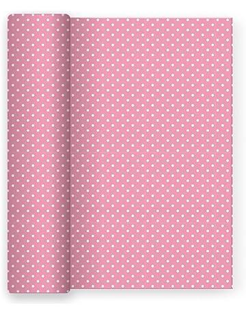 Mantel de papel para fiesta con decorado de Lunares Rosa Baby - 1,2 x