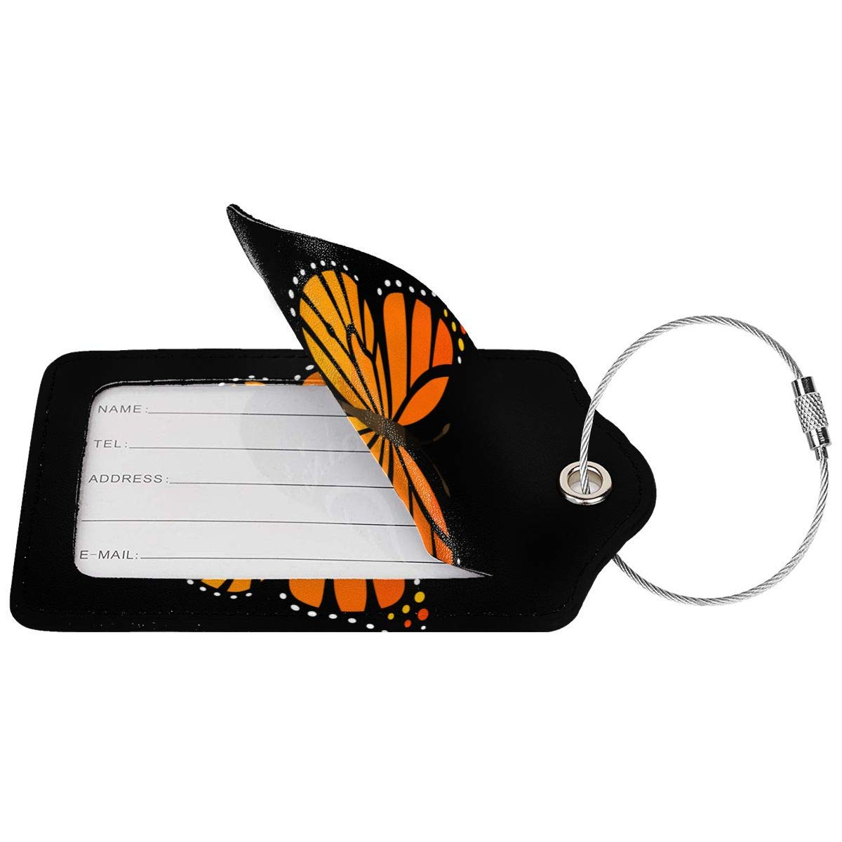 Monarch Butterfly Travel Luggage Tags With Full Privacy Cover Leather Case And Stainless Steel Loop