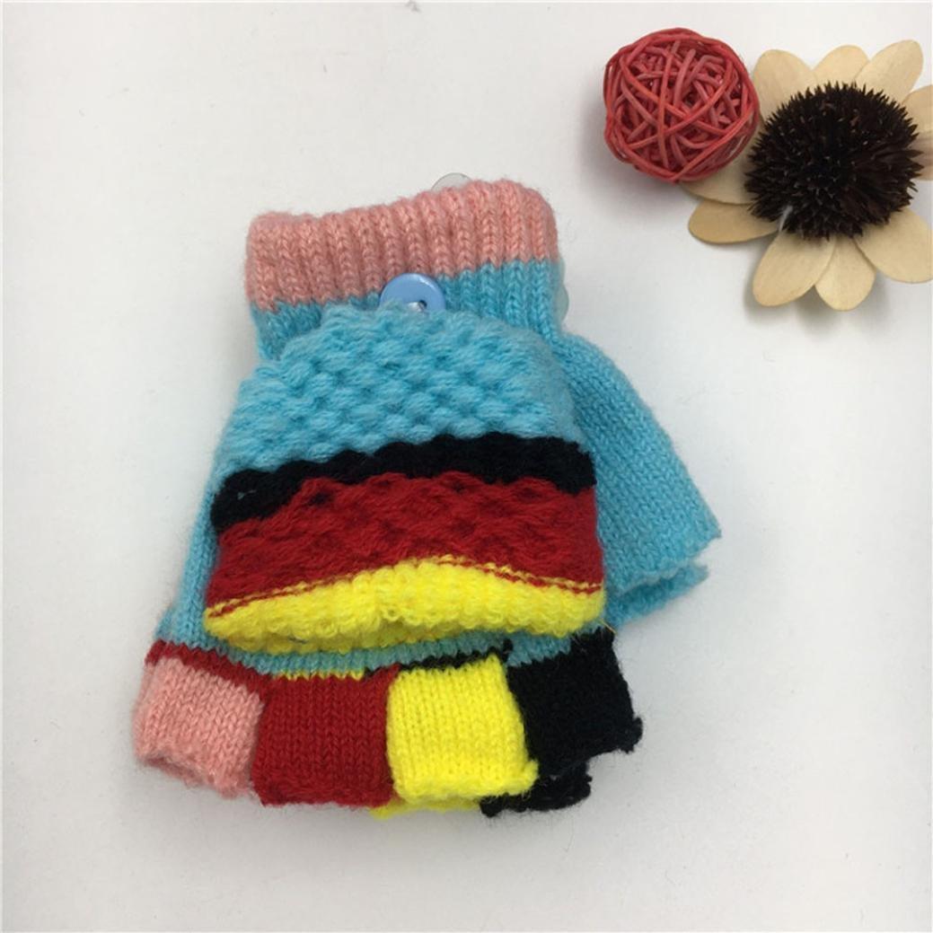 Suitable For 2-6 Years Old Baby Kids Longra Boys Girls Winter Gloves Mitten,Cute Thicken Patchwork Warm Cotton Blend Gloves Mitten