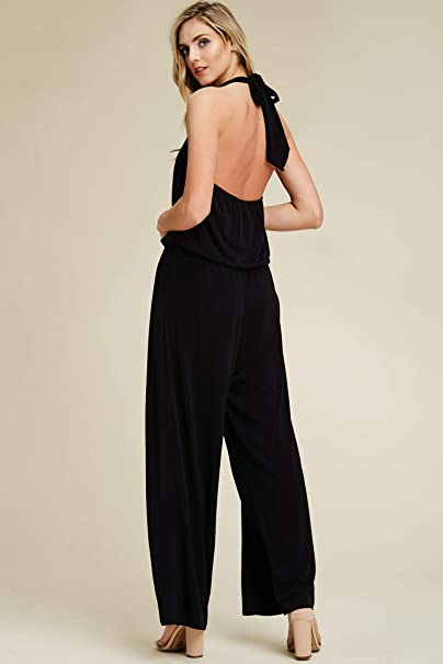 493c6f0c1045 Annabelle Women s Solid Halter Neck Sleeveless Pocketed Full Length  Jumpsuit S-3XL  Amazon.com.au  Fashion