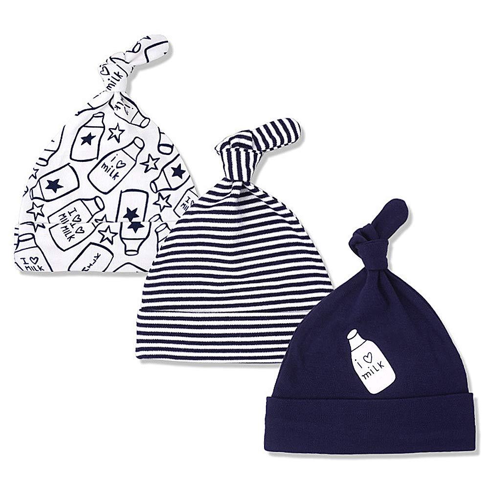 11f25a6e22b06 Lacofia Newborn Baby Boys Girls Cotton Printed Beanie Hat Unisex Infant Top  Knot Essential Cap Pack 3 Bottle 06