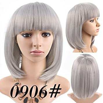 Best Short Bob Wig Silver Gray Color #0906 With Bangs for Women Full Head Colorful