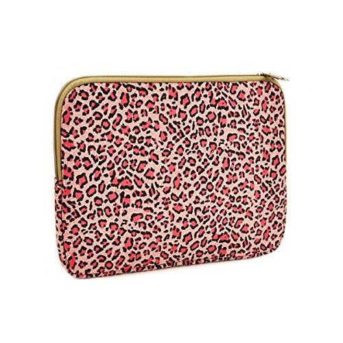 "Unik Case Pink Leopard Design Canvas Fabric Zipper Laptop Sleeve Bag Case Cover for All 13"" 13-Inch Laptop Notebook / Macbook Pro / Macbook Unibody / Macbook Air / Ultrabook / Chromebook"