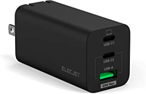 ELECJET USB C GaN Wall Charger, 65W PD PPS Super Fast Charger for Samsung Note 10+ 20 Ultra S20+, USB-C Laptop Charger for Dell XPS 13/HP x360/Lenovo Thinkpad X1/Chromebook/MacBook Pro Air