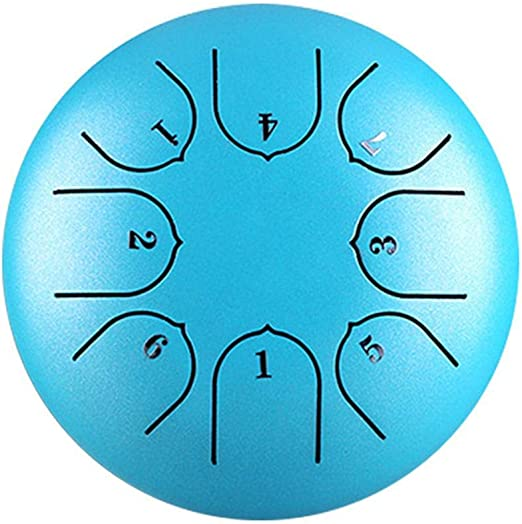 10 Inch Steel Tongue Drum 11 Notes Black w//Travel Bag and Mallets,Tank Drum Chakra Drum,Percussion Hang Drum Instrument, 10 Blue