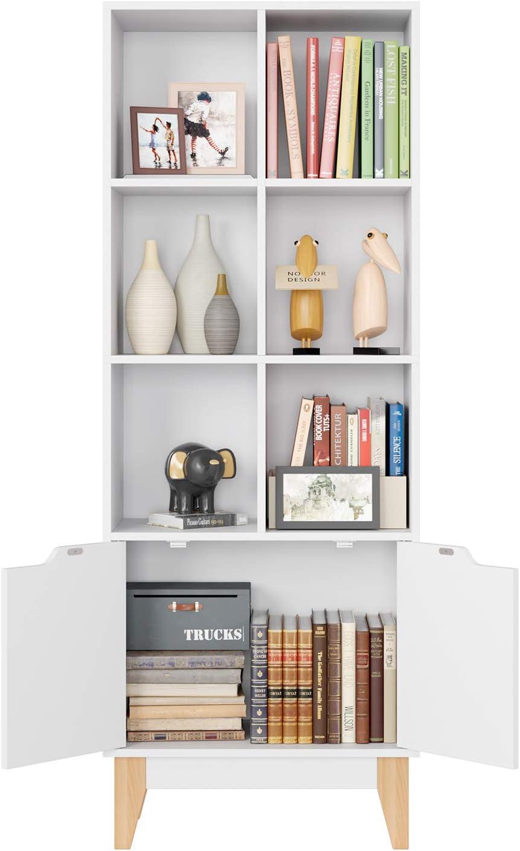 Homfa Biblioth/èque /Étag/ère Rangement Scandinave Armoire Stand avec 2 Portes 6 Casiers pour Salon Chambre Bureau Blanc 60x30x162cm