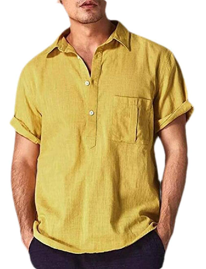 Generic Mens V Neck Linen Hippie Shirts Short Sleeve Casual Polo T-Shirt Beach Top