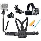 GoPro Accessoires Pack, Chef & Sangle Thoracique & Trépied & Main Jaune Grip Flottant Mont Pour GoPro Hero 4 3 2 SJCAM SJ4000 SJ5000 SJ6000 Sport Caméras