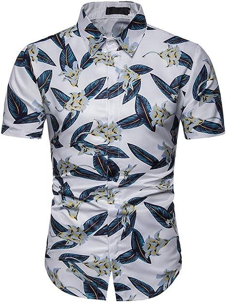 XJWDTX Camisa Delgada De La Flor De La Playa Ocasional 3D De Los Hombres del Verano Camisa De Manga Corta: Amazon.es: Deportes y aire libre