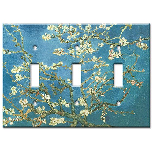 Art Plates - Van Gogh: Almond Blossoms Switch Plate - Triple Toggle