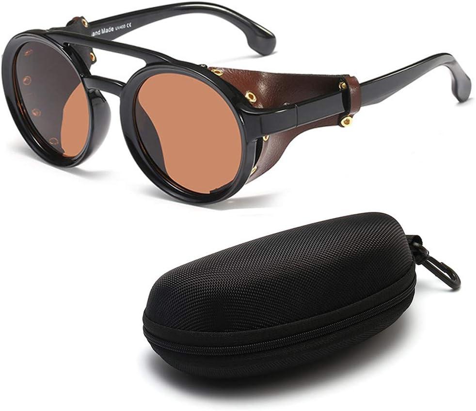 DASHAN Gafas de Sol Retro Redondas de Steampunk para Hombres Gafas Protectoras Laterales Gafas de Sol góticas,C3