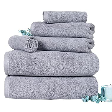 Bedford Home 6 Piece 100% Egyptian Cotton Zero Twist Towel, Silver