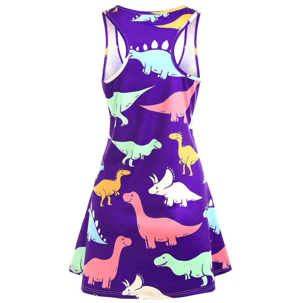 Baiggooswt 2019 Summer Dress for Women Tank Sleeveless Ladies Beach Dress Printed Dinosaur Tunic