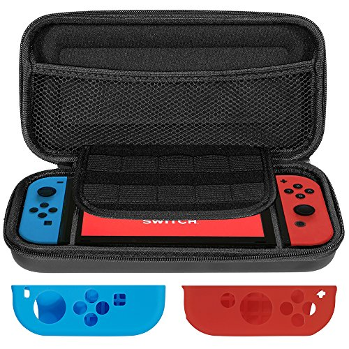 Lictin Travel Carrying Case Pouch for Nintendo Switch Protective Hard Shell Pouch Portable with 1 Pair Controller Silicone Case(Black)