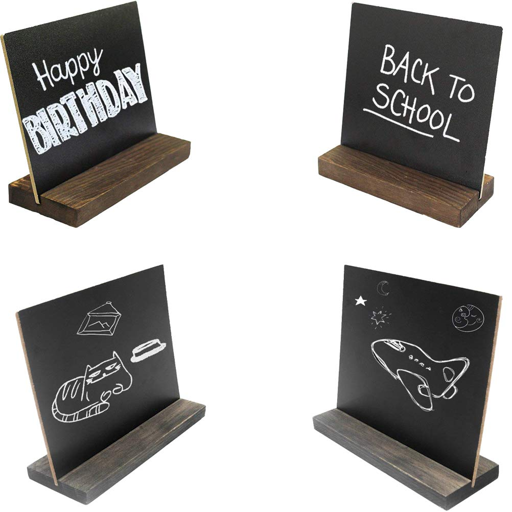 Partys 15 x 13 cm Mini-Tischtafel-Schilder mit Holzsockel im Vintage-Stil Bar und Veranstaltungsdekoration Hochzeiten 8 Sets kleine Kreidetafel f/ür Speisen