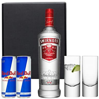 Smirnoff Vodka Red Bull Gift Set in Matt Black Gift Box with Hand Crafted Gifts2Drink Tag: Amazon.co.uk: Grocery