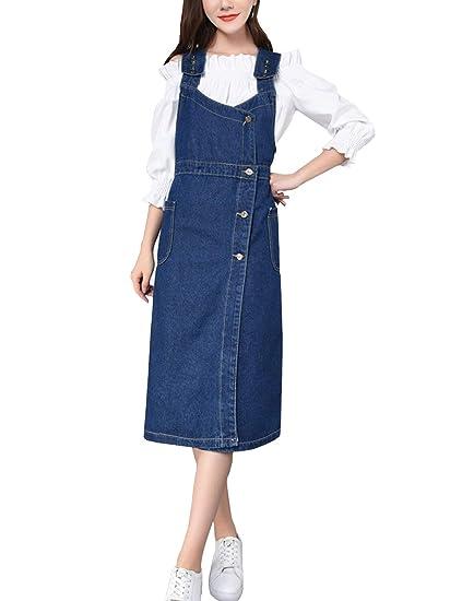 6ae0beeb4f2 D.B.M Women s Simple Thin Large Size Blue Sling Denim Skirt High Waist Skirt  at Amazon Women s Clothing store