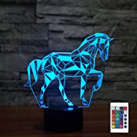 FULLOSUN Night Lights for Kids Horse Illusion 3D Night Light Bedside Lamp Car 16 Colors Changing with Remote Control…