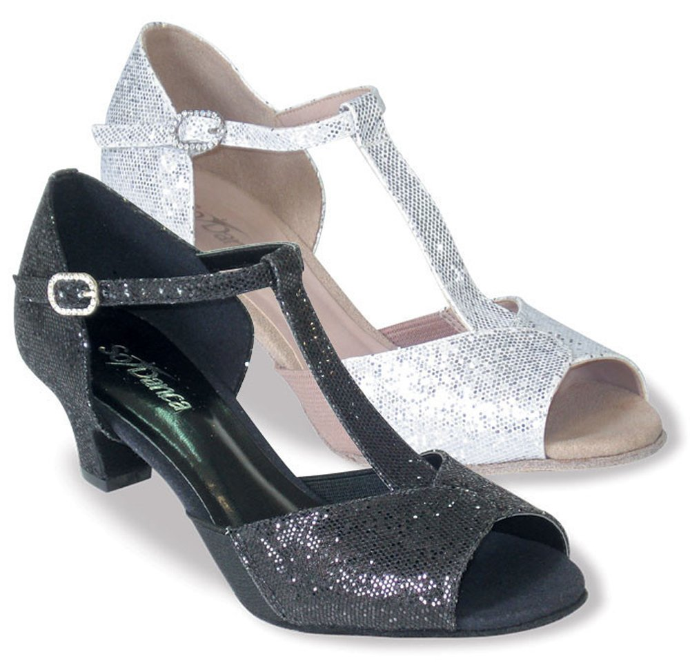Ladies Large Size 1.5'' heel T-strap canvas with sparkle fabric Ballroom shoe (10.5, Sparkle Black)