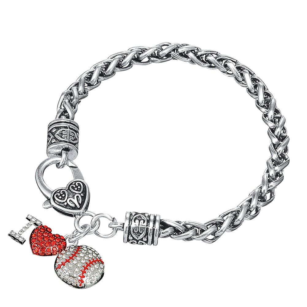 Myshape with Crystal Loving Heart Charm Lobster Clasp Wheat Chain Bracelet