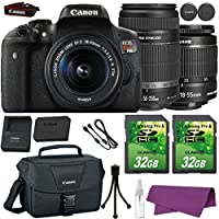 Canon EOS Rebel T6i DSLR Camera with Canon EF-S 18-55mm f/3.5-5.6 IS STM Lens + Canon EF-S 55-250mm f/4-5.6 IS STM Lens + 2 Pieces 32GB SD Memory Card + Canon Bag + Cleaning Kit Overview Review Image