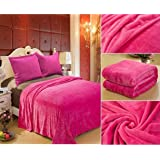 Home Must Haves Solid Hot Pink Affordable Blanket Bedding Throw Fleece Super Soft Warm, Queen, Size