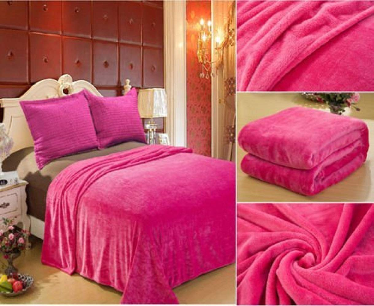 Home Must Haves Solid Hot Pink Blanket Bedding Throw Fleece Super Soft Warm, Full,