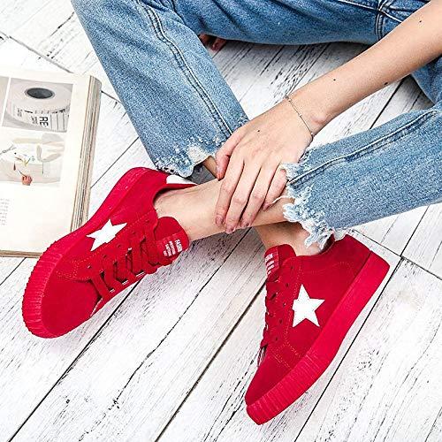Scarpe da Comfort tonda Tacco Suede Rosa Rosso Punta Sneakers piatto ZHZNVX Autunno donna Grigio Pink Hw5pngqd