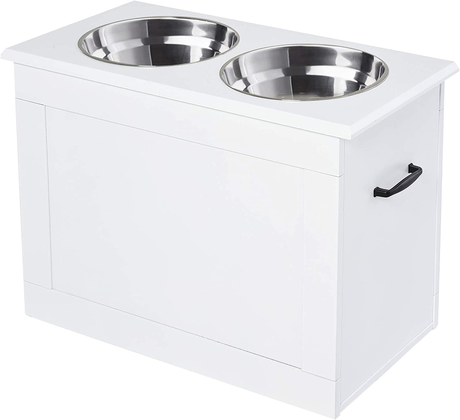 PawHut Raised Pet Feeding Storage Station with 2 Stainless Steel Bowls Base for Large Dogs and Other Large Pets