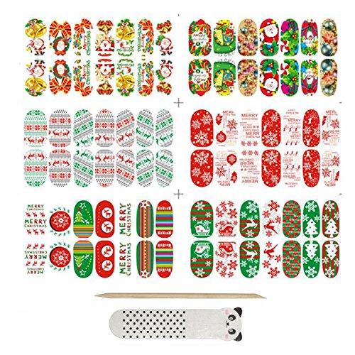 Bridalvenus Nail Art Wraps 6 Sheet Christmas Xmas Nail Stips Polish Stickers(6 Sheet14 Pcs in One Package)