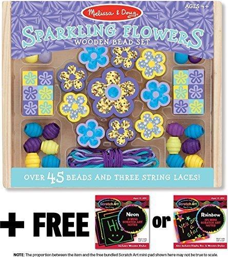 Mini Wooden Bead Set - Melissa & Doug Sparkling Flowers Wooden Bead Set & 1 Scratch Art Mini-Pad Bundle (09494)