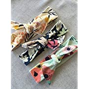 Set of three top knot floral headbands baby to adult sized headbands
