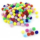200 Pcs 10mm Dia Plush Colorful Pom Ball Sew On Clothes Trousers Bags