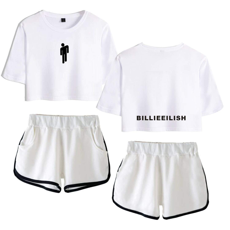 Rying Billie Eilish Donna Navel T-Shirt /& Pantaloncini Cool Street Fashion Tops Hip Pop Maglietta Crop Pantaloncini