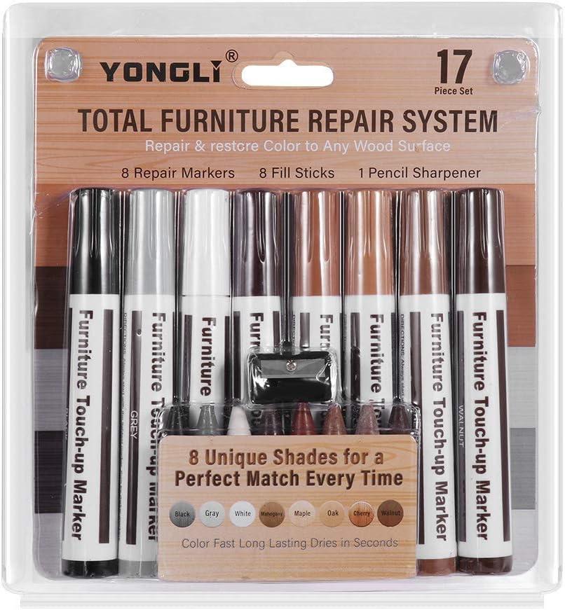 Total Furniture Repair System - Juego de 8 marcadores de retoque para reparación de arañazos y reparación de arañazos, marcadores de punta de fieltro para manchas, arañazos, suelos de madera