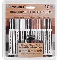 Meubelreparatieset, YCZ houten vloer krasreparatie, markeerstift voor vlekken, wasreparatie, set van 17 markeerstiften…