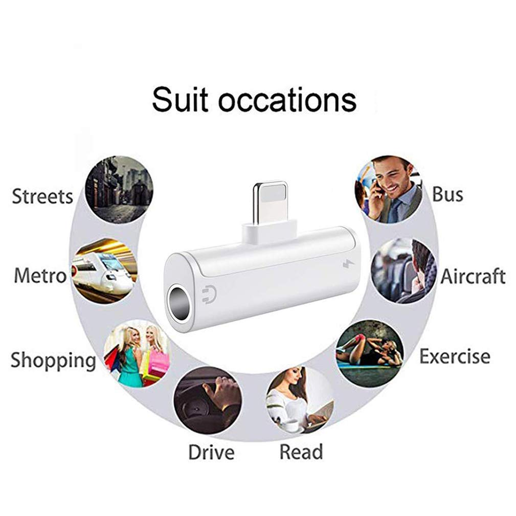 IMBCYL Adaptador Auriculares para iPhone AUX Adaptador Auriculares para iPhone Jack Adaptador y Musica 3,5mm Jack Cable para iPhone 7//7Plus//8//8Plus//X//XR//XS max Convertidor Soporta todos los iOS Negro