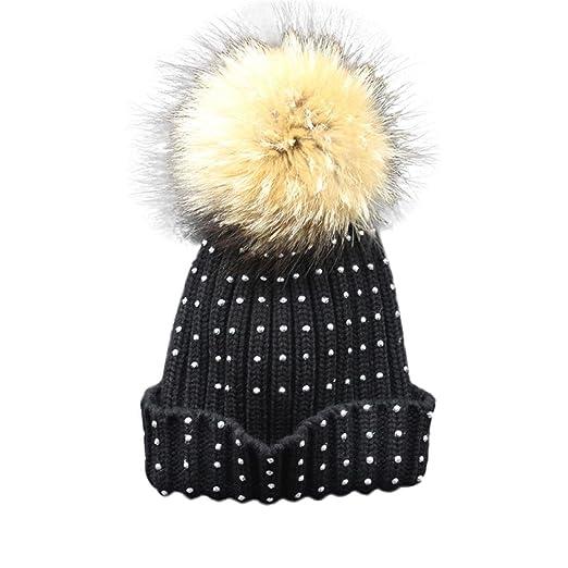 Amiley Women Fashion Studded Fur Pom Pom Hat Wool Knitted Beanie Warm Cap  (Black) 27bb9be9d2