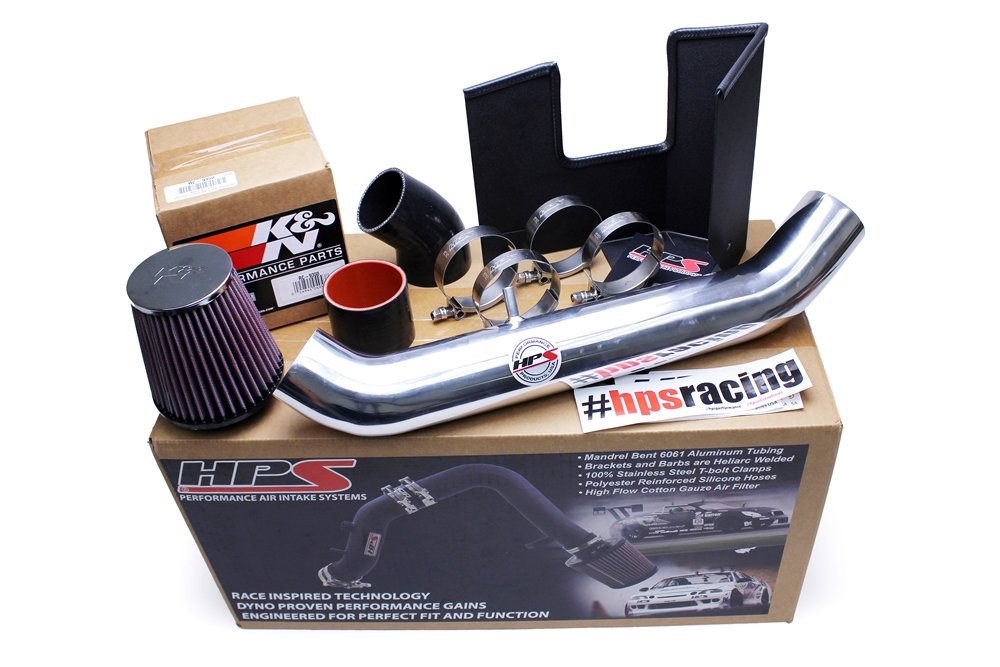 HPS 27-537R Red Shortram Air Intake Kit with Heat Shield Cool Short Ram SRI