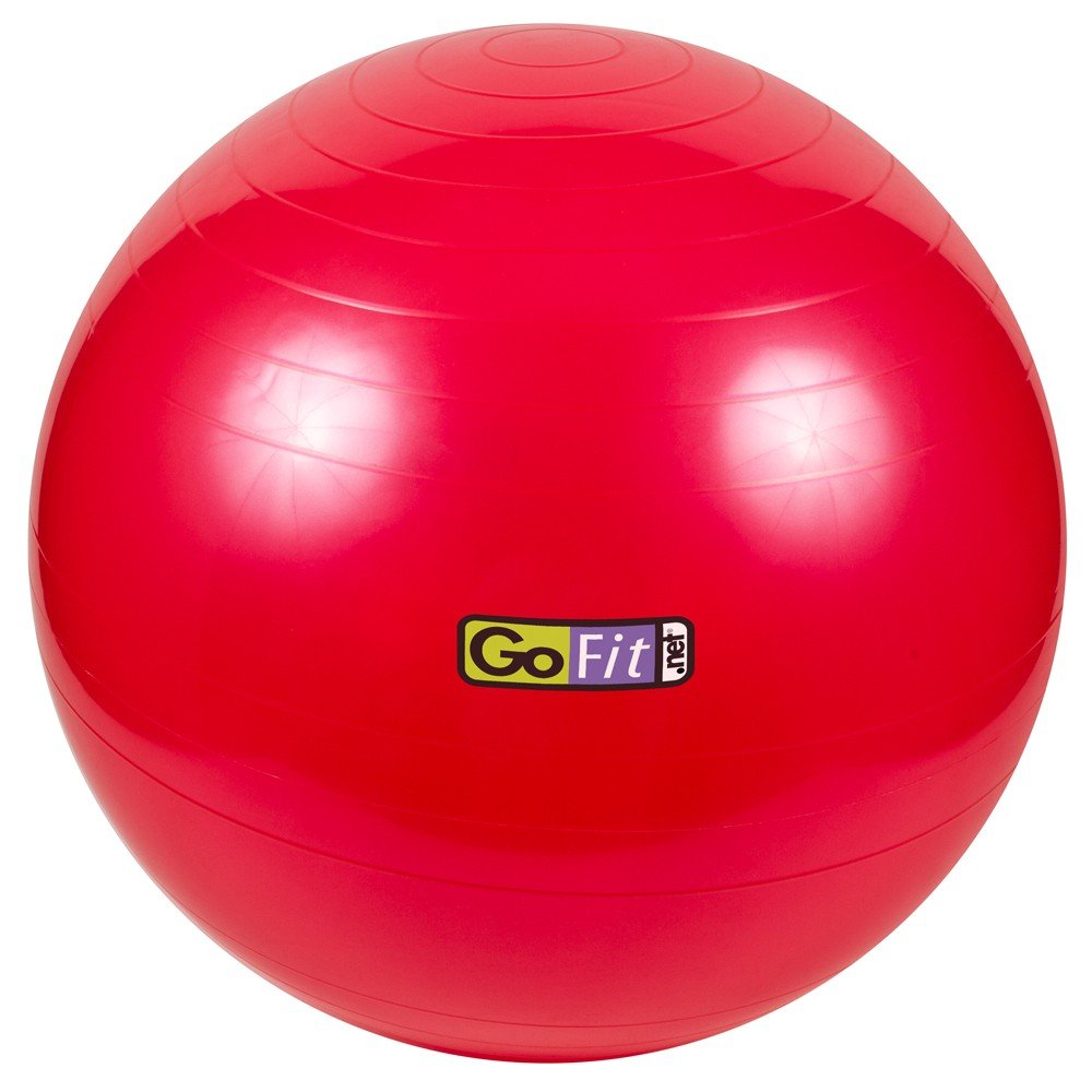 Exercise Stability Ball by GoFit 55cm, Red | Great for Balance, Fitness, Yoga, & Core Strength