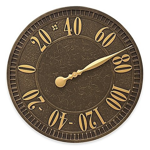 Whitehall Products Geneva Indoor/Outdoor Elegant Wall Thermometer in Aged Bronze by Whitehall