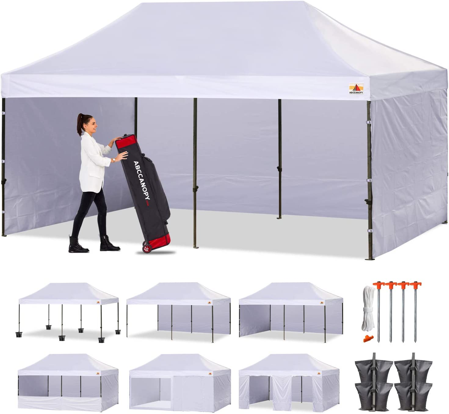 ABCCANOPY Canopy Tent Popup Canopy 10x20 Pop Up Canopies Commercial Tents Market stall with 6 Removable Sidewalls and Roller Bag Bonus 4 Weight Bags and 10ft Screen Netting and Half Wall, White
