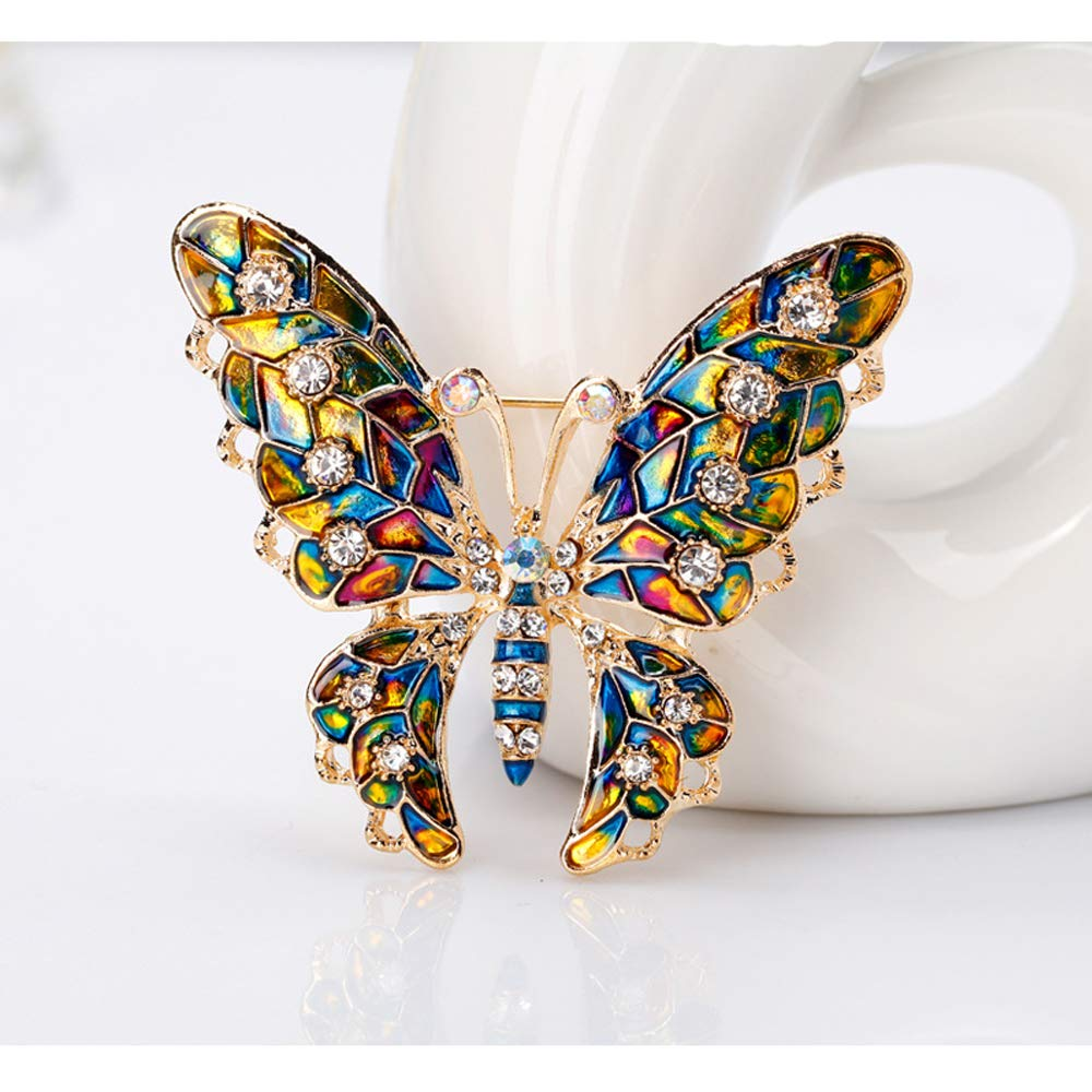 Acxico 1Pcs Fashion Butterfly Rhinestone Brooch Pin Colorful Alloy Crystal Lapel Pin Corsages Scarf Clips Brooches for Women Girls