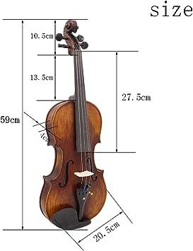 ammoon 4/4 Tamaño Completo Hechos a Mano Madera Sólida Acústica Violín con Estuche de Transporte Sintonizador Resto del Hombro Cadena Paño de Limpieza La Colofonia Sordina: Amazon.es: Instrumentos musicales